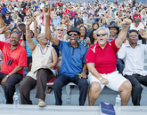 A cheering squad for graduate Kayla Patterson (not pictured) included: Helen Hawkins (front row, second from left), her grandmother from Louisiana; uncle J.J Jackson from California; and her parents, Glen Patterson (bottom right) and Tanya Patterson (seated behind Jackson) from California.