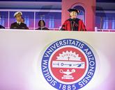 UA President Ann Weaver Hart addressed the graduates.