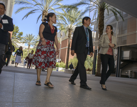 Karletta Chief, Navajo Nation Vice President Jonathon Nez and Paloma Beamer tour the River of Wellness at the Arizona Health Sciences Center.