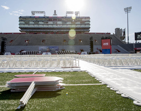 It was all quiet in Arizona Stadium as volunteers and techs made the final preparations for the UA Commencement ceremony.