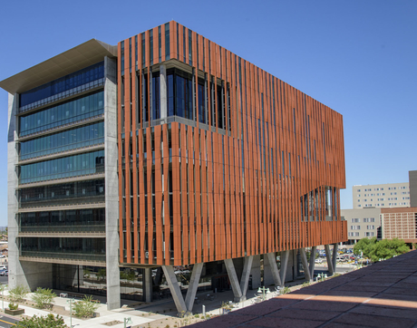 The nine-story, 220,000-square-foot Health Sciences Innovation Building opened its doors at North Cherry Avenue and East Mabel Street this summer. (Photo by Kris Hanning/Health Sciences)