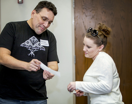 "William Alexander, an Advanced Placement literature and junior English teacher, and Patricia McKelvy, a freshman English and journalism teacher, both from Walden Grove HIgh School in the Sahuarita District, participate in the Shakespeare Teacher Training Workshop at the UA Library. Alexander and McKelvy traded traditional Shakespearean ""greetings"" doubling as insults."