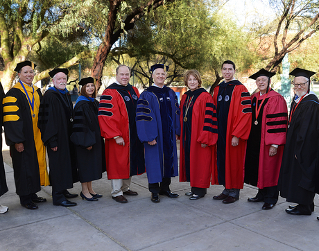 From left: University Distinguished Professors Alan Nighorn and Elliott Cheu; Distinguished Outreach Faculty Thomas Sheridan and Cynthia Thomson; Rick Myers, member of the Arizona Board of Regents; UA Provost Andrew Comrie; UA President Ann Weaver Hart; UA student regent Vianney Careaga; and Regents' Professors Ronald Breiger, Frank Gohlke and Renu Malhotra. (Photo: James S. Wood)
