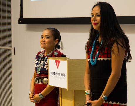 Karletta Chief (left) and Janene Yazzie make their team's presentation for the Haury challenge grant. (Photo: Ernesto Trejo/UANews)