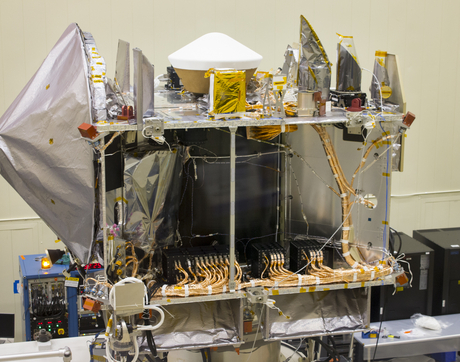 "An inside look at the OSIRIS-REx spacecraft in a ""clean room"" at Lockheed Martin in Littleton, Colorado (Photo: Robin Tricoles/UANews)"