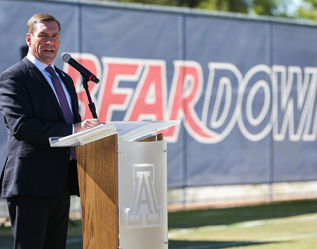 University of Arizona Vice President and Director of Athletics Dave Heeke speaks at the dedication of the Dick Tomey Football Practice Fields. (Photo: Mike Christy/Arizona Athletics)
