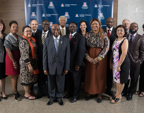 Joseph Boakai Sr. (sixth from left), vice president of Liberia, met on Monday with representatives of five colleges at the UA Health Sciences to establish a collaboration agreement.