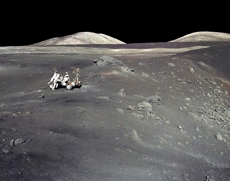 "Apollo 17 astronaut Harrison ""Jack"" Schmitt stands next to a steep-walled crater named Shorty on Dec. 13, 1972. The UA's Jessica Barnes is among the scientists selected by NASA to be granted access to previously unopened samples, including some collected during NASA's last manned mission to the moon. (Photo: NASA)"