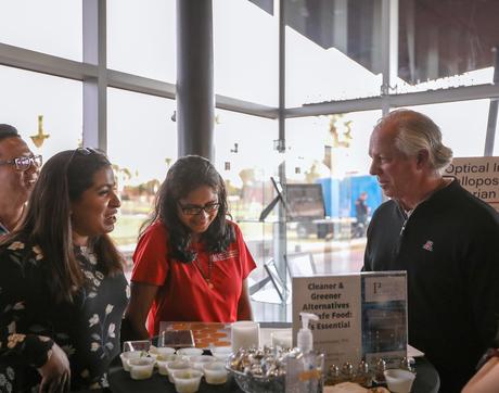 From left: Visiting scholar Qi Wei, research technician Aishwarya Rao, associate professor Sadhana Ravishankar and UA President Robert C. Robbins. (Photo: Tech Launch Arizona)