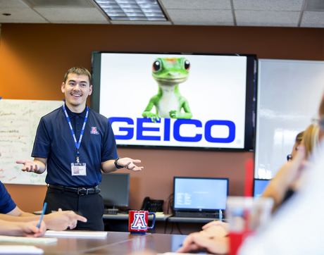 Nate Alvarez is one of the GEICO employees now able to access UA degrees and supports through a newly announced partnership. Through the Geico Education Program, Alvarez is working toward his bachelor's degree in business administration at the Eller College of Management. (Photo: John de Dios)