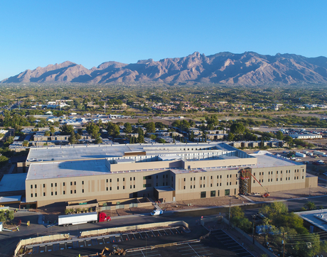 The three-story outpatient clinic (foreground) near North Campbell Avenue and East Allen Road will enhance the patient experience, according to Dr. Charles B. Cairns, dean of the College of Medicine – Tucson. (Photo: Matt George/Commotion Studios)