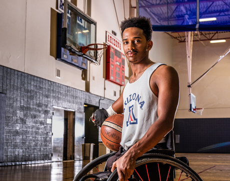 Josh Brewer is one of the newest members of the UA Men's Wheelchair Basketball Team. After a tumultuous journey to where he is today, he's eager to begin life as Wildcat. (Photo: Bob Demers/UANews)