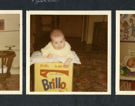 "Baby Lisanne Skyler on the Brillo Box from ""Brillo Box (3¢ Off)."" From the Andy Warhol Foundation for the Visual Arts Inc. (Brillo trademark used with permission of Armaly Brands Inc.; photo courtesy of HBO)"