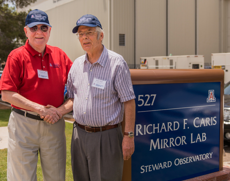 UA astronomy benefactor Richard F. Caris (left) with Regents' Professor Roger Angel, director of the Richard F. Caris Mirror Lab