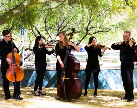 Members of the Graduate String Quintet are Robert Marshall, cello; Emily Nolan, violin; Elizabeth Clawson, double bass; JoAnna Park, violin; and Justin Brookins, viola. (Photo: Mindi Acosta)