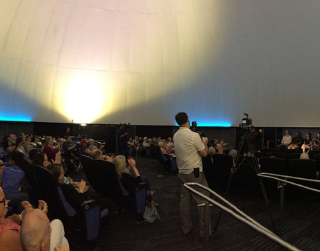 A capacity crowd is on hand at the Flandrau Science Center & Planetarium for the taping of programming for Asteroid Day, which is Friday. (Photo: Daniel Stolte/UANews)