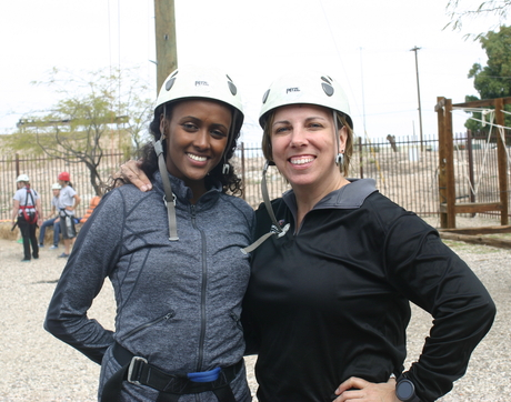 Rabia Jama and Kim Christman during a team-building event. UA Wildcat Corps members are located in Cooperative Extension offices in counties throughout Arizona, including Apache, Cochise, Coconino and Maricopa counties.