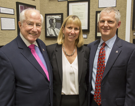 Former U.S. Rep. Jim Kolbe (left) with Karen Williams, dean of the UA Libraries, and UA Provost Andrew Comrie. (Photo: Aengus Anderson)