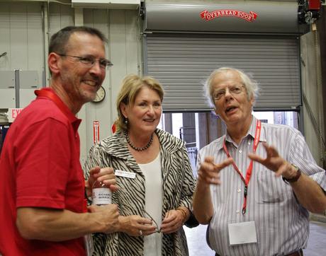 Roger Angel (right) with Richard F. Caris Mirror Lab scientist Buddy Martin and UA President Ann Weaver Hart (Photo: Ray Bertram/UA)