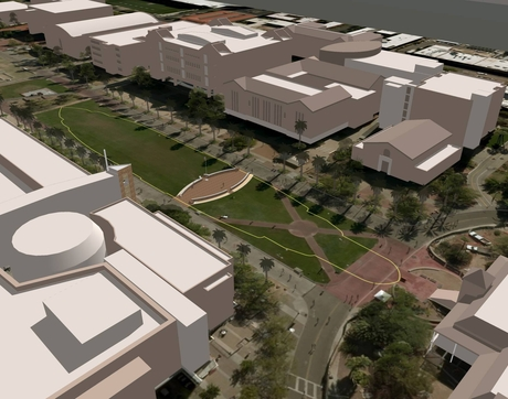 This rendering indicates the outline of the USS Arizona Mall Memorial, which is being built on the south side of the Student Union Memorial Center.