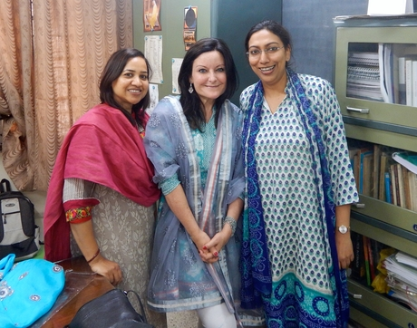 UA professor Melissa A. Fitch (center) with Priti Singh (left) and Aprajita Kashyap, professors at the Centre for Canadian, U.S. and Latin American Studies at the School of International Studies at Jawaharlal Nehru University in Delhi, India.