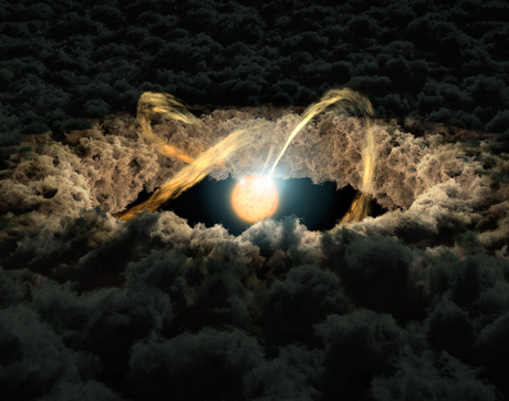 "This illustration shows a star surrounded by a protoplanetary disk. The star's irregular illumination allows astronomers to measure the gap between the disk and the star by using a technique called ""photo-reverberation"" or ""light echoes.""  (Illustration: NASA/JPL-Caltech)"