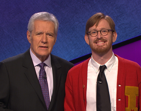 Alex Trebek with UA faculty member Tucker Dunn. (Photo courtesy of Jeopardy Productions Inc.)