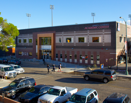Arizona Athletics' new academic center bears the name of donor Ginny L. Clements and is now open on the south side of Enke Drive. (Photo: Bob Demers/UANews)