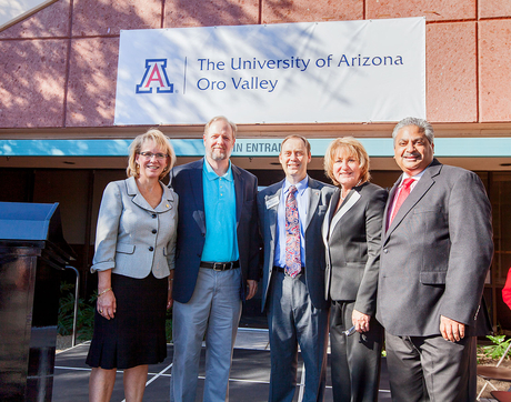 On hand for Monday's Oro Valley announcement were (from left) UA Senior Vice President Kimberly Andrews Espy, veterinarian and UA alumnus Dr. Michael Ames, UA Vice President Shane Burgess, UA President Ann Weaver Hart and Oro Valley Mayor Satish Hiremath. (Photo: John de Dios/UANews)