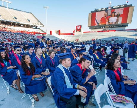 Degrees to be conferred during the UA's 152nd Commencement include more than 4,500 bachelor's degrees, 1,100 graduate degrees, and almost 300 professional degrees. (Photo credit: John de Dios/UANews)