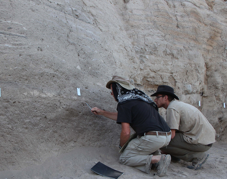 From left: Study authors Jay Quade and Jordan Abell collect samples at the site of an ancient Turkish settlement where salts left behind by animal and human urine give clues about the development of livestock herding. (Photo: Güneş Duru, Courtesy Aşıklı Höyük Project Archive)