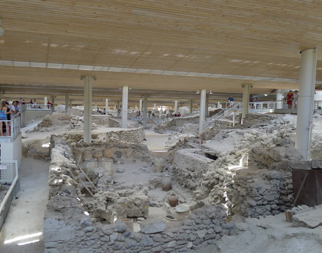 Akrotiri is the Minoan town on Santorini that was damaged by earthquakes building up to the eruption and then buried under ash once Thera erupted. The whole town site has a modern roof structure over it to protect the fragile site from the elements. (Photo: Gretchen Gibbs)