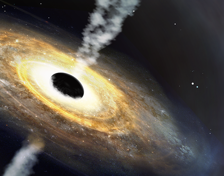 An artist's impression of the quasar Pōniuāʻena, the first quasar to receive an Indigenous Hawaiian name. (Image: International Gemini Observatory/NOIRLab/NSF/AURA/P. Marenfeld)