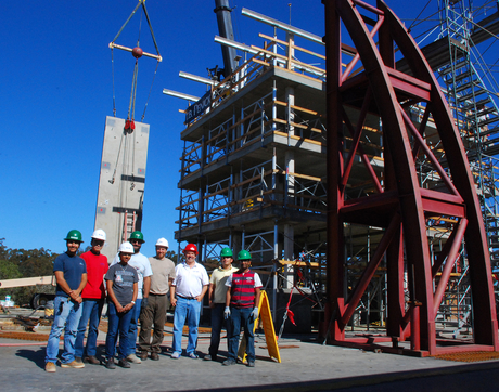 Robert Fleischman, pictured with members of his research team at a test structure built on the shake table at UC San Diego's Englekirk Structural Engineering Center, will travel to Italy as a Fulbright scholar to lead an integrated research and teaching program in earthquake engineering.