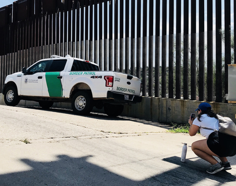 Olivia Jackson, a former journalism undergraduate student, documents the presence of the U.S. Border Patrol in Nogales, Arizona. A new master's degree in bilingual journalism aims to take advantage of the School of Journalism's proximity to the border. (Photo courtesy of Celeste González de Bustamante)