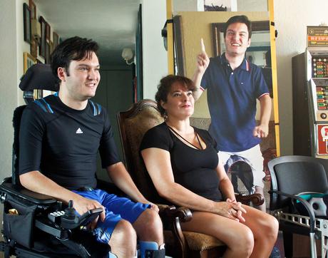 Jeffrey Bristol (left) and his mother, Hermelinda Bristol, at their home in Tucson, Arizona