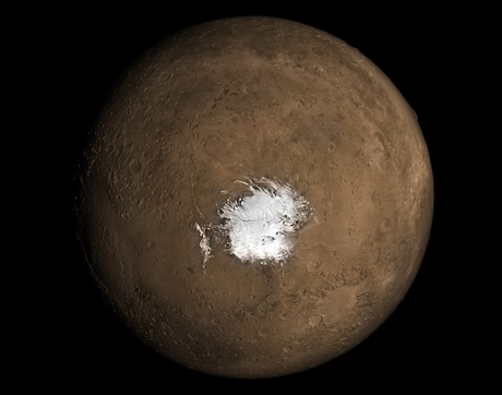 A new study in Geophysical Research Letters argues there needs to be an underground source of heat for liquid water to exist underneath the Martian southern polar ice cap. (Image: NASA)