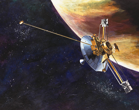 Launched on March 2, 1972, Pioneer 10 was the first spacecraft to travel through the asteroid belt, and the first spacecraft to make direct observations and obtain close-up images of Jupiter. (Image: NASA)