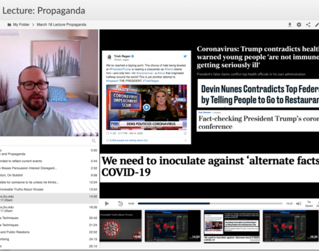 A screenshot from Eric Plemons' lecture on propaganda, offered on the Panopto online video platform.