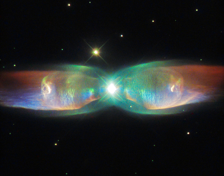 The Butterfly Nebula, also known as the Twin Jet Nebula, is an example of a so-called bipolar planetary nebula. The object of this study, K4-47, is much less known, but may be similar in appearance. Having nothing to do with planets, a planetary nebula is a glowing, often colorful, shell of gas and dust shed into space by a dying star at high speed. (Image: ESA/Hubble & NASA/Judy Schmidt)