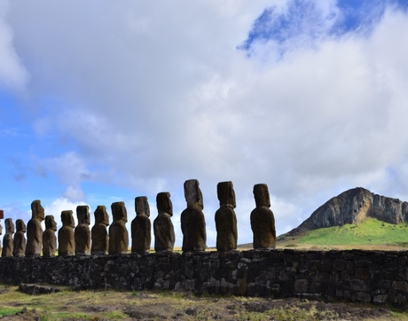 A widely held narrative is that construction of the monuments on Rapa Nui, commonly known as Easter Island, stopped around 1600 after a major societal collapse. New research revises that theory. (Photo: Terry L. Hunt)