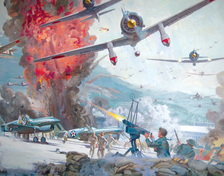 "Robert McCall's conceptual painting for ""Tora! Tora! Tora!"" The piece is a gift of Robert T. and Louise H. McCall. (Photo courtesy of the UA Museum of Art)"