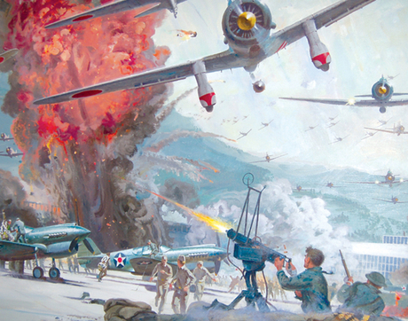 "A conceptual painting by Robert McCall for the film ""Tora! Tora! Tora!"" (Photo courtesy of the UA Museum of Art)"