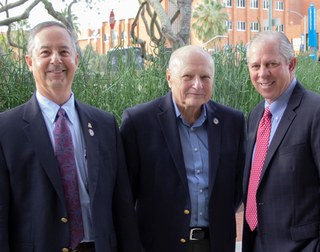 Left to right: UA College of Optical Sciences Dean Thomas Koch, Professor Emeritus James Wyant and UA President Robert C. Robbins (Photo: Amee Hennig)