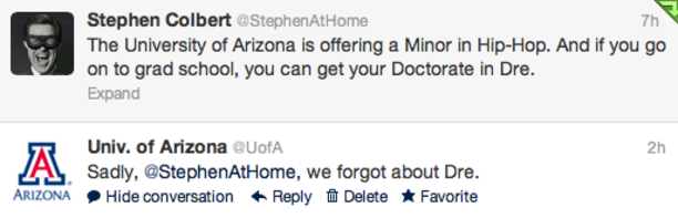 Stephen Colbert and the UA tweet about the University's hip-hop minor.