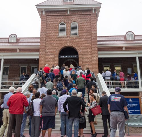 """The newly restored and renovated Old Main received several awards in the month of May. Rodney Mackey, associate director of Planning Design and Construction at the UA, said working on the building was a powerful experience. """"It's a great final product, and it was an honor to work on it."""" (Photo: Beatriz Verdugo/UANews)"""