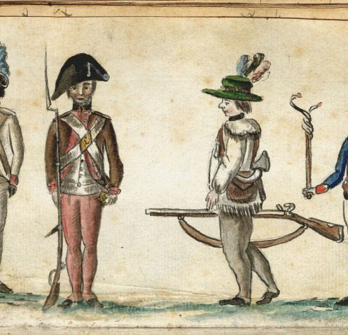 """Soldiers, including six African-American slaves who volunteered to fight in exchange for their freedom, lost toes due to frostbite during a failed expedition to destroy Fort Ontario in 1783. After the war, they obtained pensions for partial disability. This watercolor, painted at Yorktown by a French army officer, features a member of the """"Black Regiment.'"""" """"Soldiers in Uniform"""" by Jean Baptiste Antoine de Verger, 1781-1784. (Photo courtesy of Anne S.K. Brown Military Collection, Brown University Library)"""