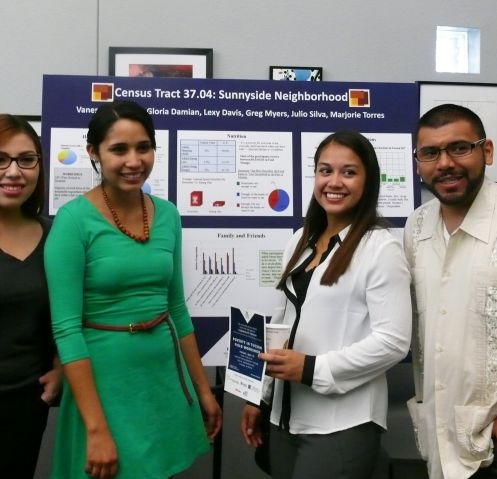 Students from the Poverty in Tucson Field Workshop (from left): Vanessa Camacho, Gloria Damian, Majorie Torres and Julio Silva.