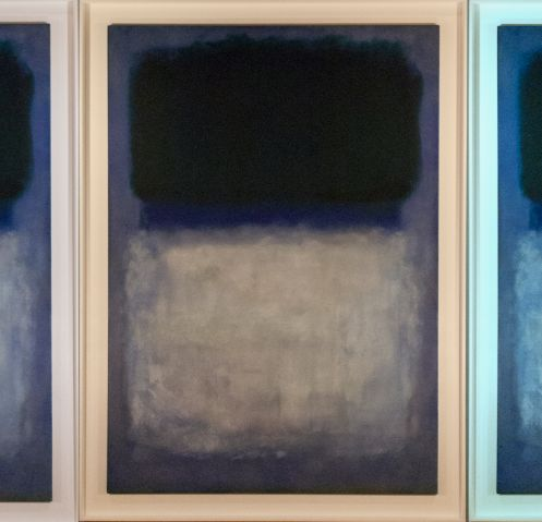 "Mark Rothko's ""Green on Blue"" painting, which is in the UAMA's holdings, is lit (from left) in neutral, warm and cool light. (Photos courtesy of Nathan Saxton/UAMA)"