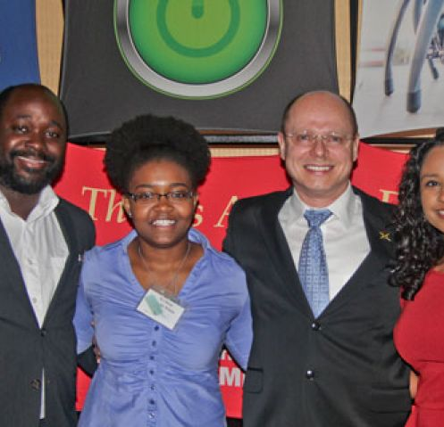 BASIS High School student Helena Hurbon (right) joins her senior research project mentor, UA associate professor Wolfgang Fink (second from right), at the 2015 da Vinci Circle Annual Dinner. Also on hand are Tembong Fonji (left) and Ty'Dria Wright-White, members of the UA student chapter of the National Society of Black Engineers, for which Fink serves as campus adviser.